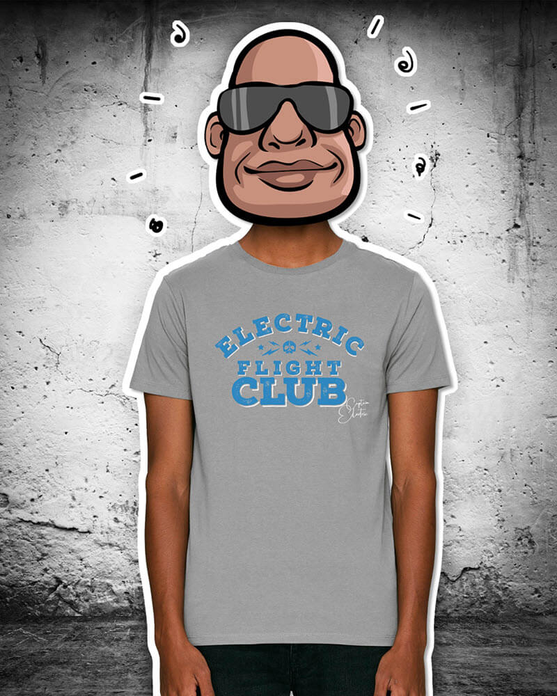 "T-Shirt ""Electric Flight Club"" grey"