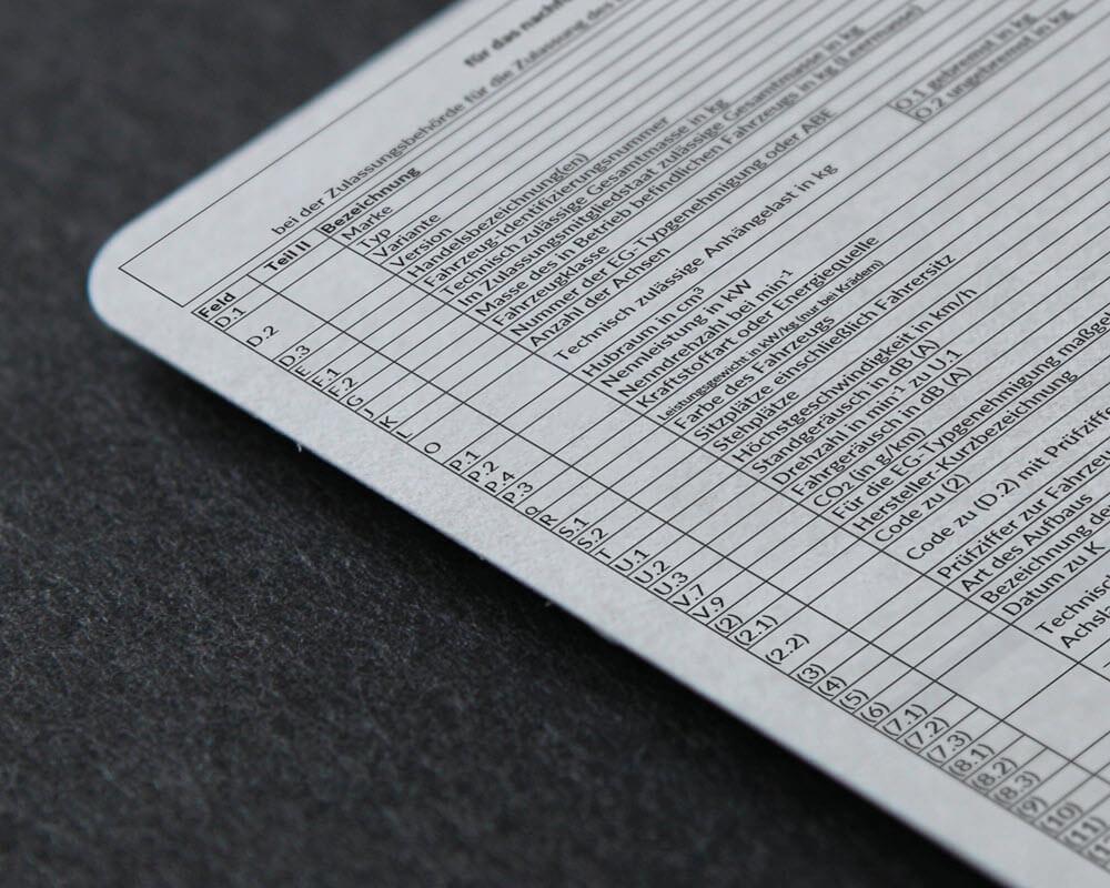 Ersatzdokument Datenbestätigung (ABE)