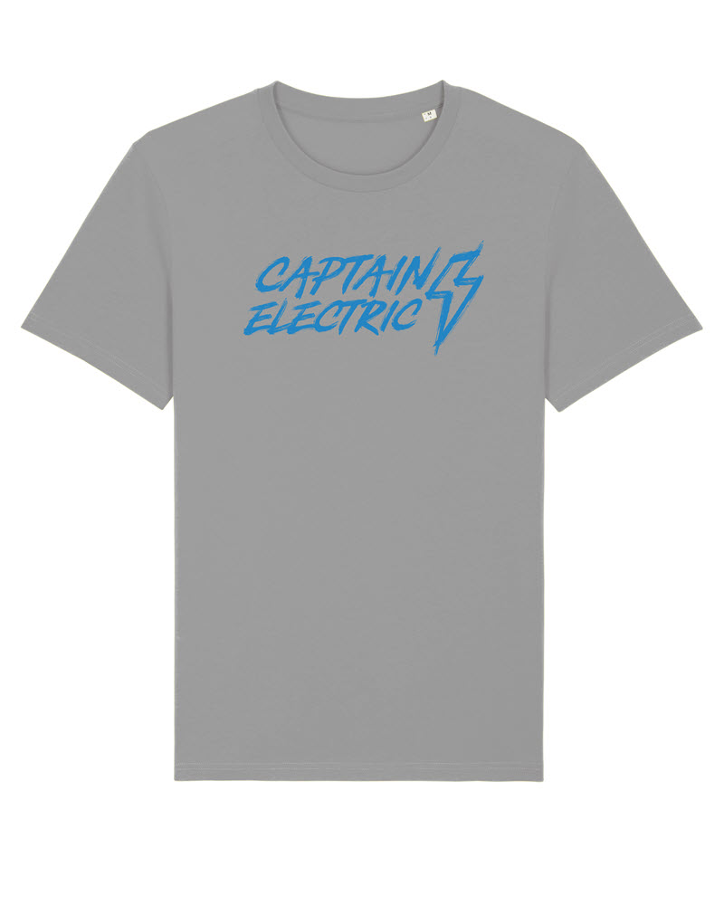 "T-Shirt ""Captain Electric"" Original grey with blue print"