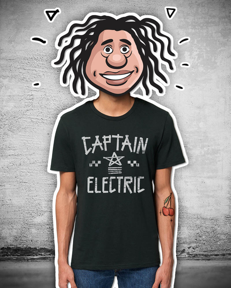 """T-Shirt """"Captain Electric"""" black with white print"""